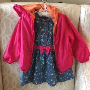 Joe Fresh raincoat size 2T & Gymboree dress 18-24m